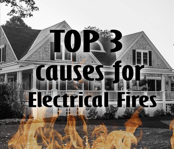 Image of home with text: Top 3 causes for electrical fires.
