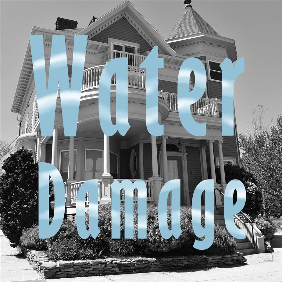 "Text saying ""Water damage"" over image of house"