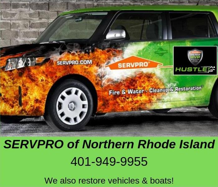 SERVPRO branded vehicle with text and phone number